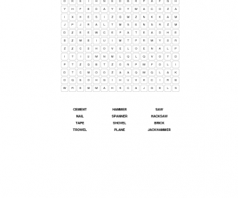 Tools and Materials Word Search