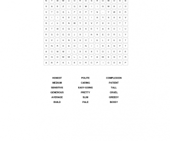 Describing People Word Search Puzzle