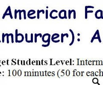 American Fast Food Lesson Plan