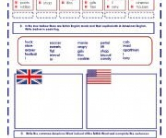 American English vs British English Worksheet