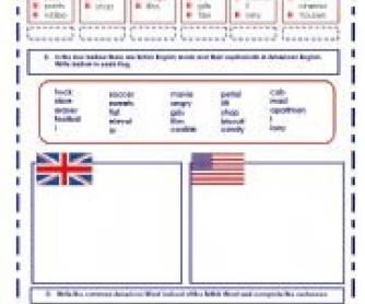 American English vs British English Worksheet
