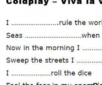 Song Worksheet: Viva La Vida by Coldplay [WITH VIDEO]