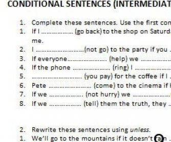 Conditional Sentences Worksheet