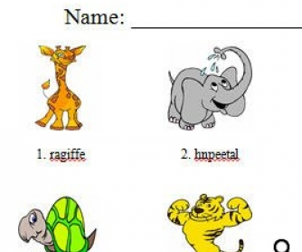 Unscramble me! Animals Worksheet