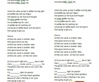 Song Worksheet: All That She Wants by Ace of Base [WITH VIDEO]