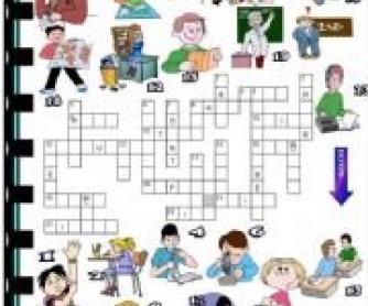 Classroom Verbs: Picture Crossword