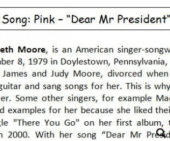 Song worksheet: Dear Mr President by Pink [WITH VIDEO]