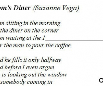 Song Worksheet: Tom's Diner by Suzanne Vega [WITH VIDEO]