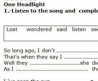 Song Worksheet: One Headlight by Wallflowers [WITH VIDEO]