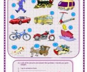 Number Names Worksheets paragraph on means of transport : Talking about Means of Transport Worksheet