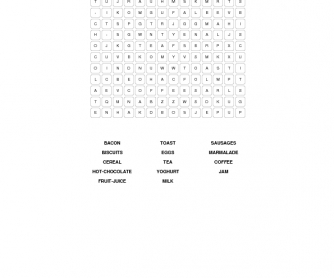 Breakfast: Food Word Search