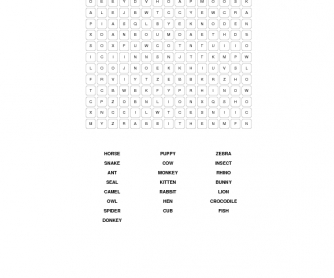 Animals Basic Word Search