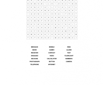 Mobile Telephones Word Search