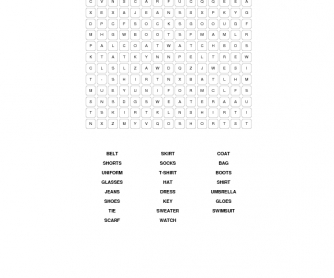 Clothes Elementary Word Search