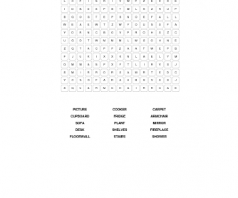 Furniture and Decoration Word Search