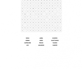 Zodiac Word Search