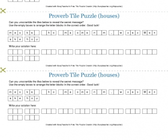 Proverb Tile Puzzle (houses)