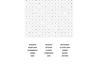The Shopping Centre Word Search