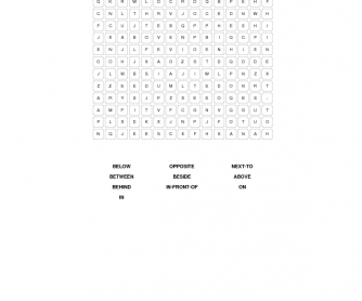 Elementary Prepositions of Place Word Search