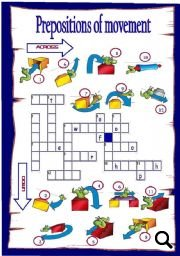 Prepositions Of Movement Picture Crossword