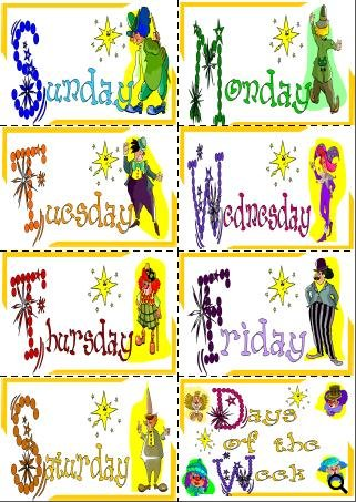 Flashcards about days of the week presented by beautiful and colorful ...