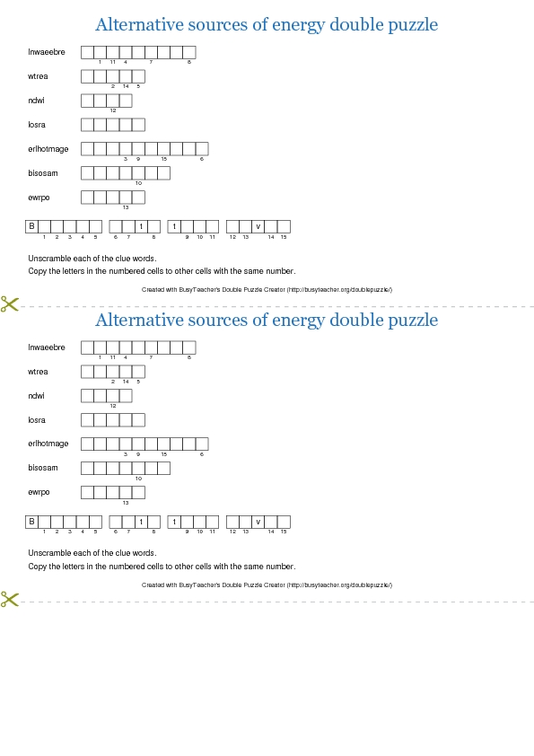 Alternative Sources Of Energy Double Puzzle