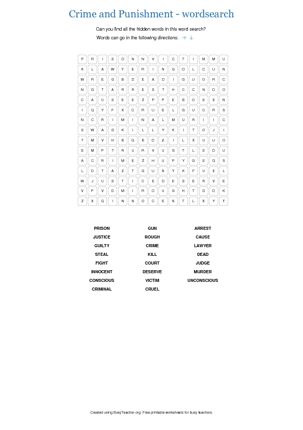 crime and punishment wordsearch 2. Black Bedroom Furniture Sets. Home Design Ideas