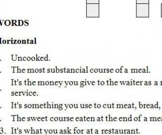 At The Restaurant Crossword