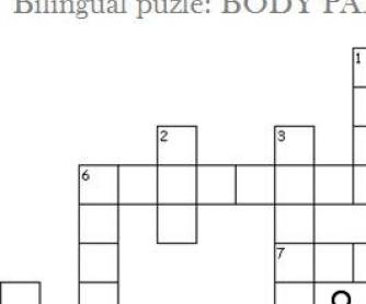 Body Parts Crossword for Spanish Speakers