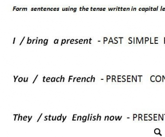 Revising Tenses Worksheet