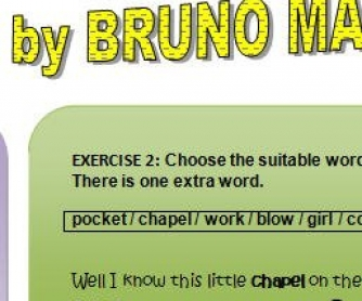 Song Worksheet: Marry You by Bruno Mars