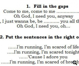 Song Worksheet: Running Scared [WITH VIDEO] - Eurovision 2011