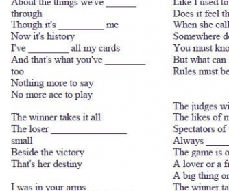 Song Worksheet: The Winner Takes It All by ABBA [WITH VIDEO]