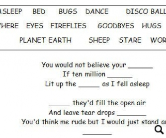 Song Worksheet: Fireflies by Owl City [WITH VIDEO] Alternative