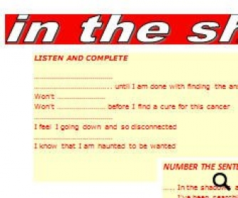Song Worksheet: In The Shadows by The Rasmus [WITH VIDEO]
