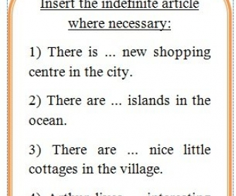 Indefinite Articles Worksheet