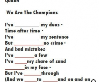 Song Worksheet: We Are The Champions by Queen [WITH VIDEO] Alternative