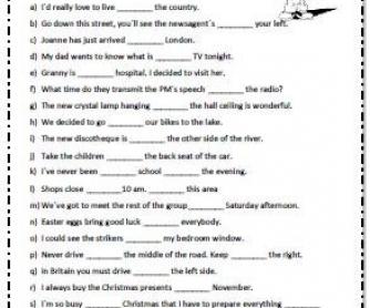 Prepositions Worksheet