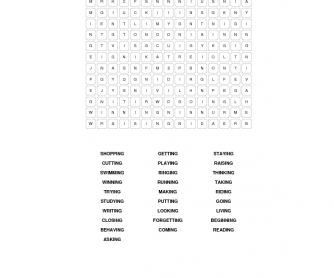 Present Continuous Word Search
