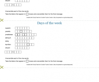 Days of the Week Double Puzzle