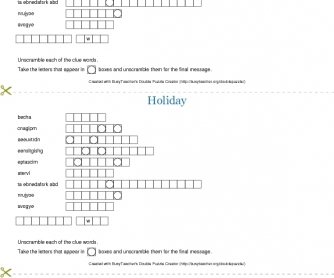 Holiday Double Puzzle