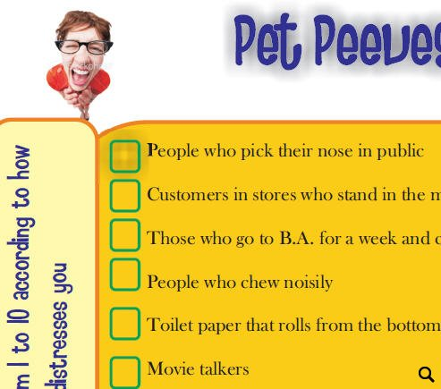 essay on pet peeves Pet peeve speech assignment speech 101 name: due date: the purpose of this assignment is to: • get you comfortable with speaking to your audience • provide you with an opportunity to practice getting your point across to your audience.