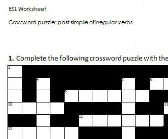 Crossword Puzzle Past Simple Of Irregular Verbs