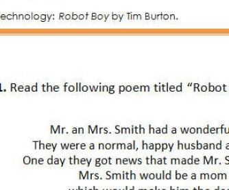 Poem Worksheet: Robot Boy by Tim Burton