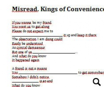 Song Worksheet: Misread by Kings of Convenience [WITH VIDEO]
