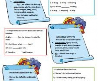 Gerund and Infinitive Worksheet