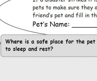 Natural Disaster Worksheet: Pets in Disaster