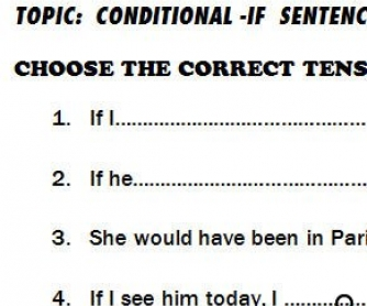 Mixed Conditionals Worksheet