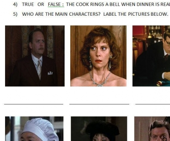 Movie Worksheet: Clue [Past Continuous]