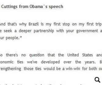 Class Based on President Obama's Speech in Brazil